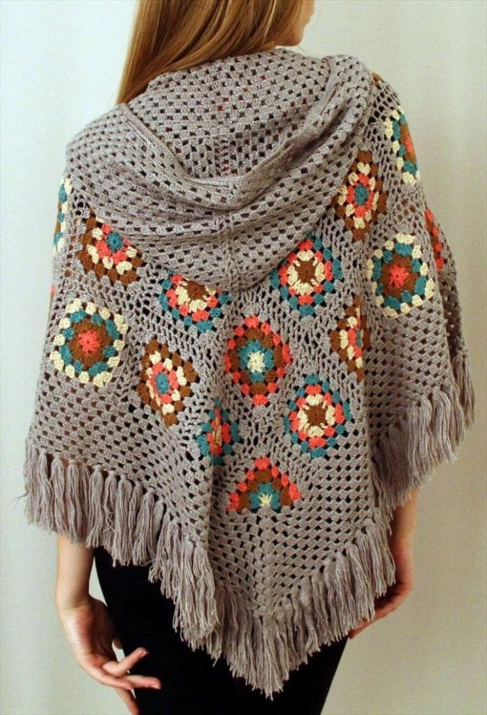 16 DIY Ideas About Crochet Hooded Cap & Shawl #grannysquareponcho
