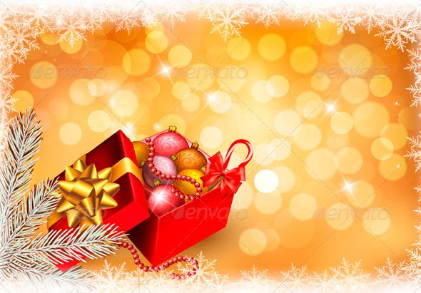 Christmas Background with Open Gift Box Fonts-logos-icons