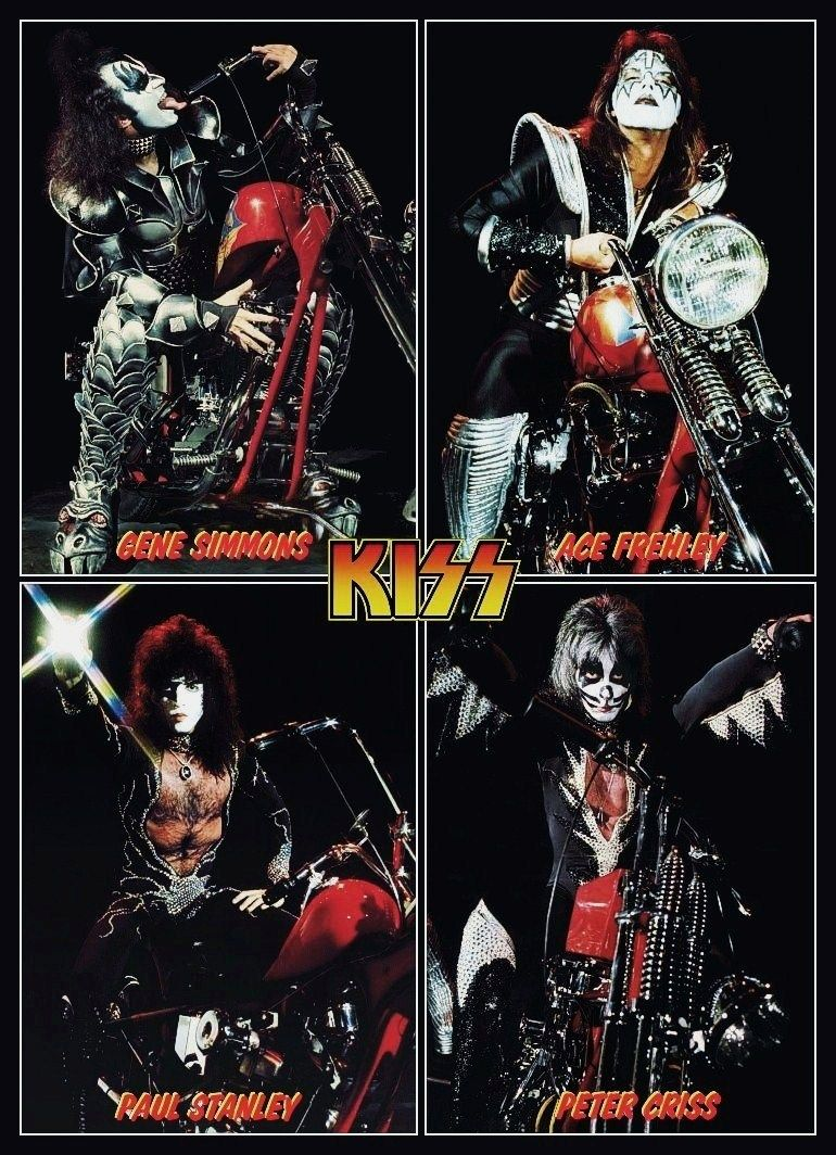 Kiss Band Destroyer Era Motorcycle Collage 2 Stand Up Display