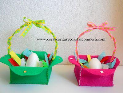 Canastitas en fieltro para huevos de pascua manualidades para ni os diy paso a paso semana - Manualidades de fieltro paso a paso ...