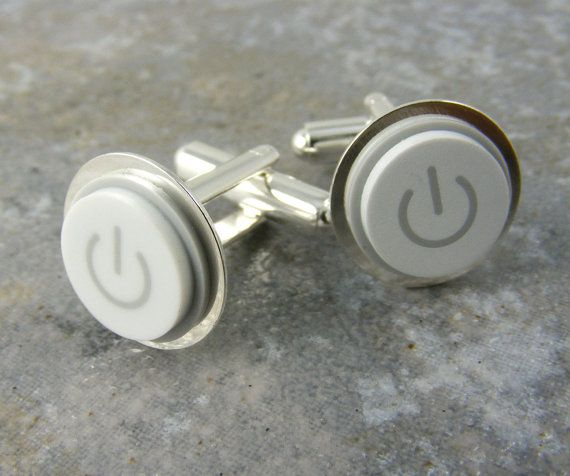 Power Up Cuff Links White Mac Button Recycled By KeyedUp 2700 Need Your Ownoooh