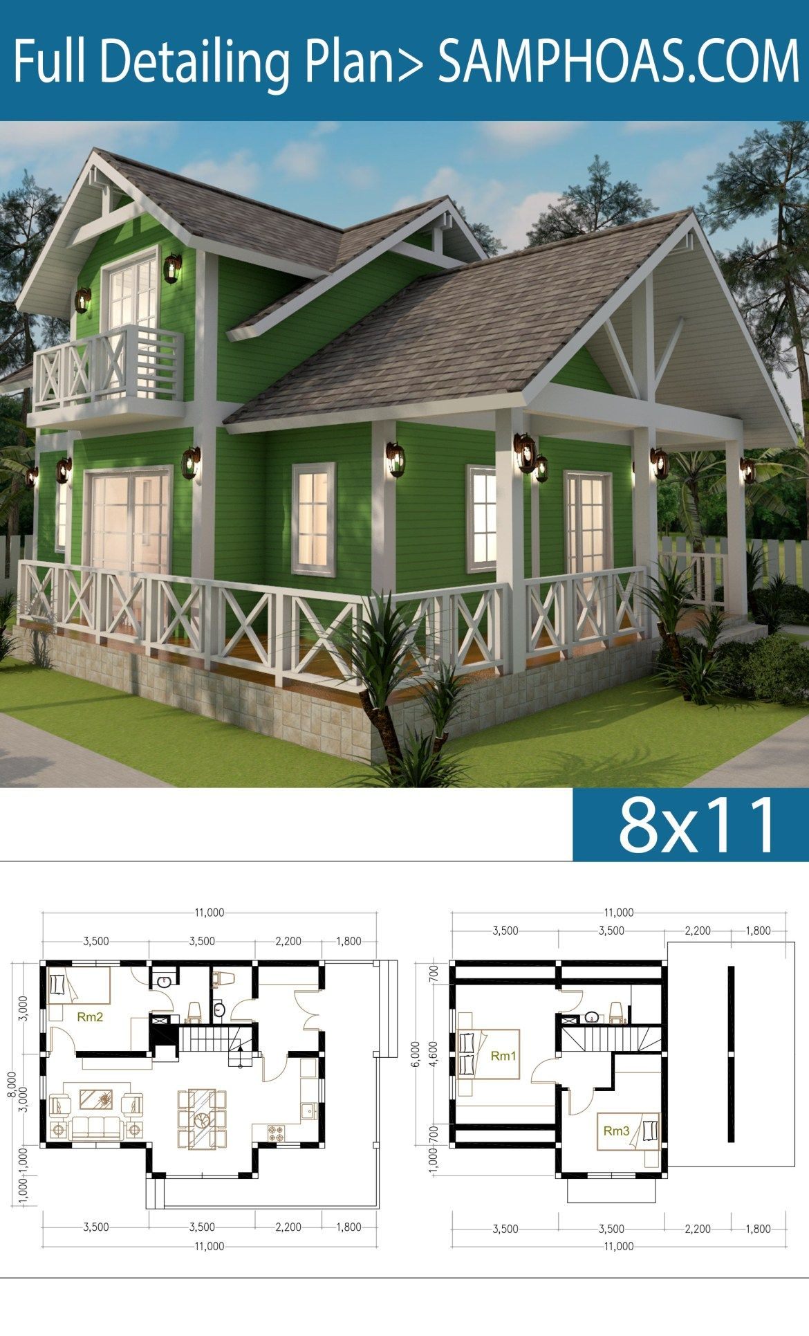 2 Story House Plan 8x11m With 3 Bedrooms Samphoas Plansearch Wooden House Plans Beach House Flooring Beach House Design
