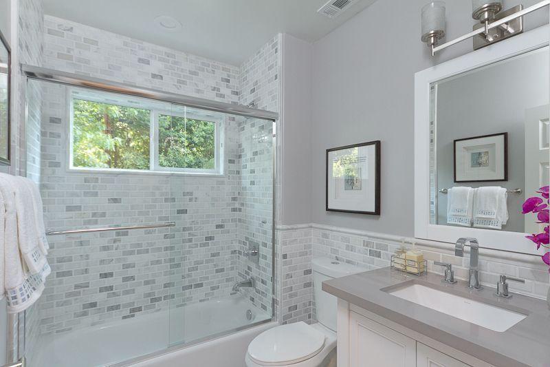 Modern Full Bathroom with specialty door, Flush, Undermount Sink, tiled wall…
