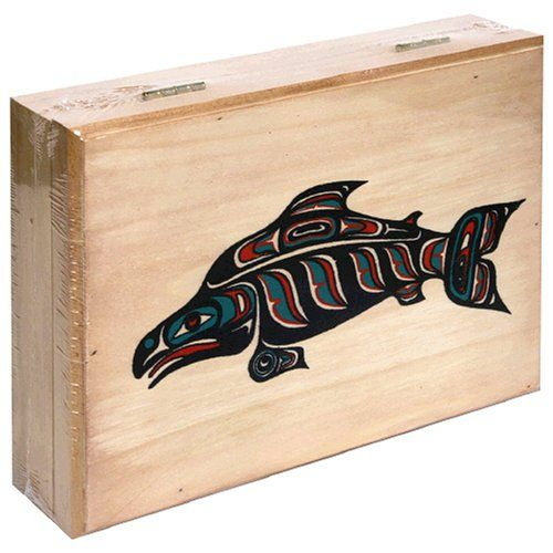 BESTSELLER! Alaska Smokehouse Smoked Salmon Fillet in Wood Gift Box, Assorted Designs, 4-Ounce Each (Pack of 4) $40.88