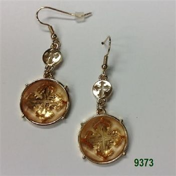 Peach Gold Round Crystal Medallion Wire Earrings