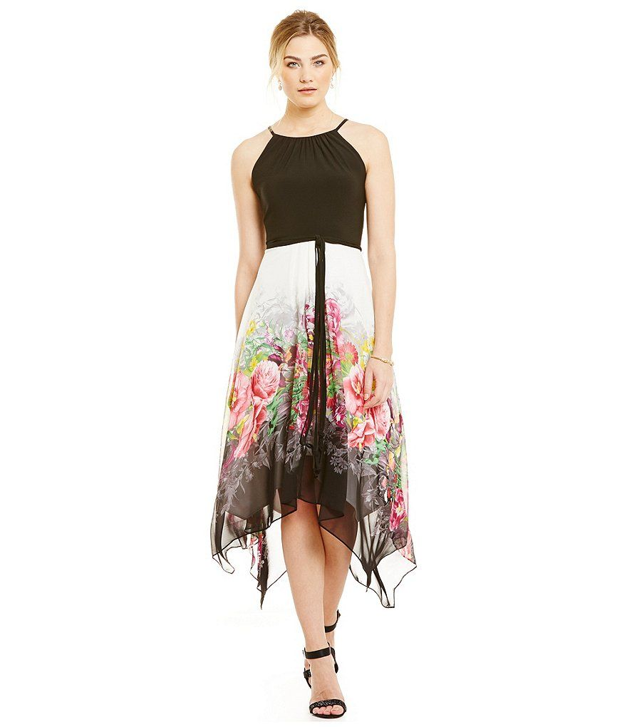 Sl sl fashion dresses - S L Fashions Printed Hanky Hem Dress