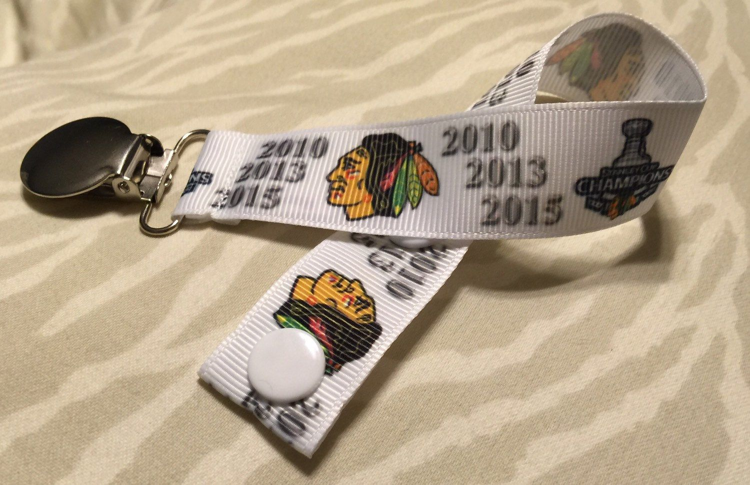 Chicago Blackhawks Stanley Cup Champions pacifier holder