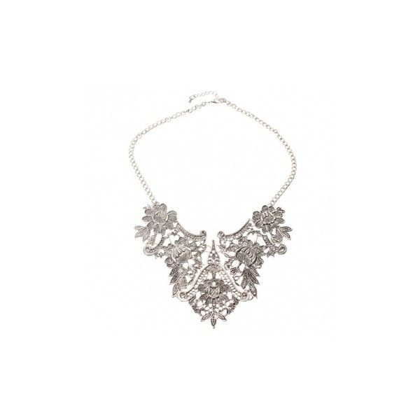 Vintage Silver Plated Flower Statement Choker Necklace Women Jewelry (23.360 COP) ❤ liked on Polyvore featuring jewelry, necklaces, flower necklace, flower choker necklace, flower jewelry, statement choker necklace and silver plated jewelry