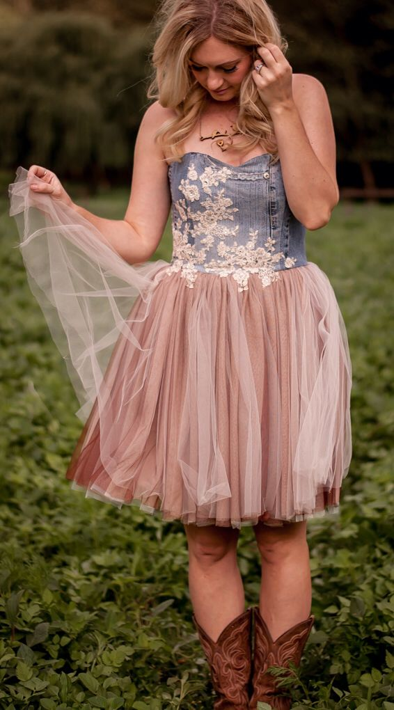 Denim/tulle dress with cowboy boots | Fancy | Pinterest