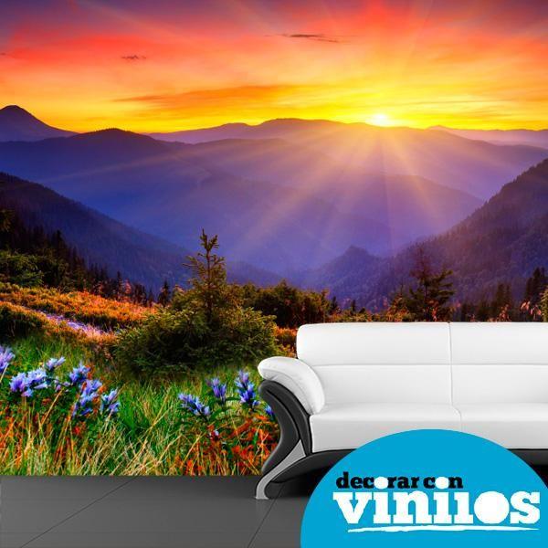mural decorativo en vinilos de atardecer entre montañas