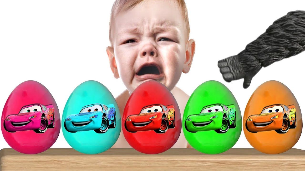 Toys cars 3  Pin by SUPER KIDS TV on Bad Baby Crying Learn colors with Giant Egg