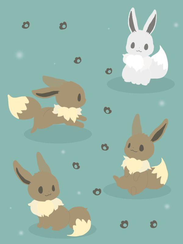 Eevees and a shiny eevee~ | Pokemon eeveelutions, Eevee ...