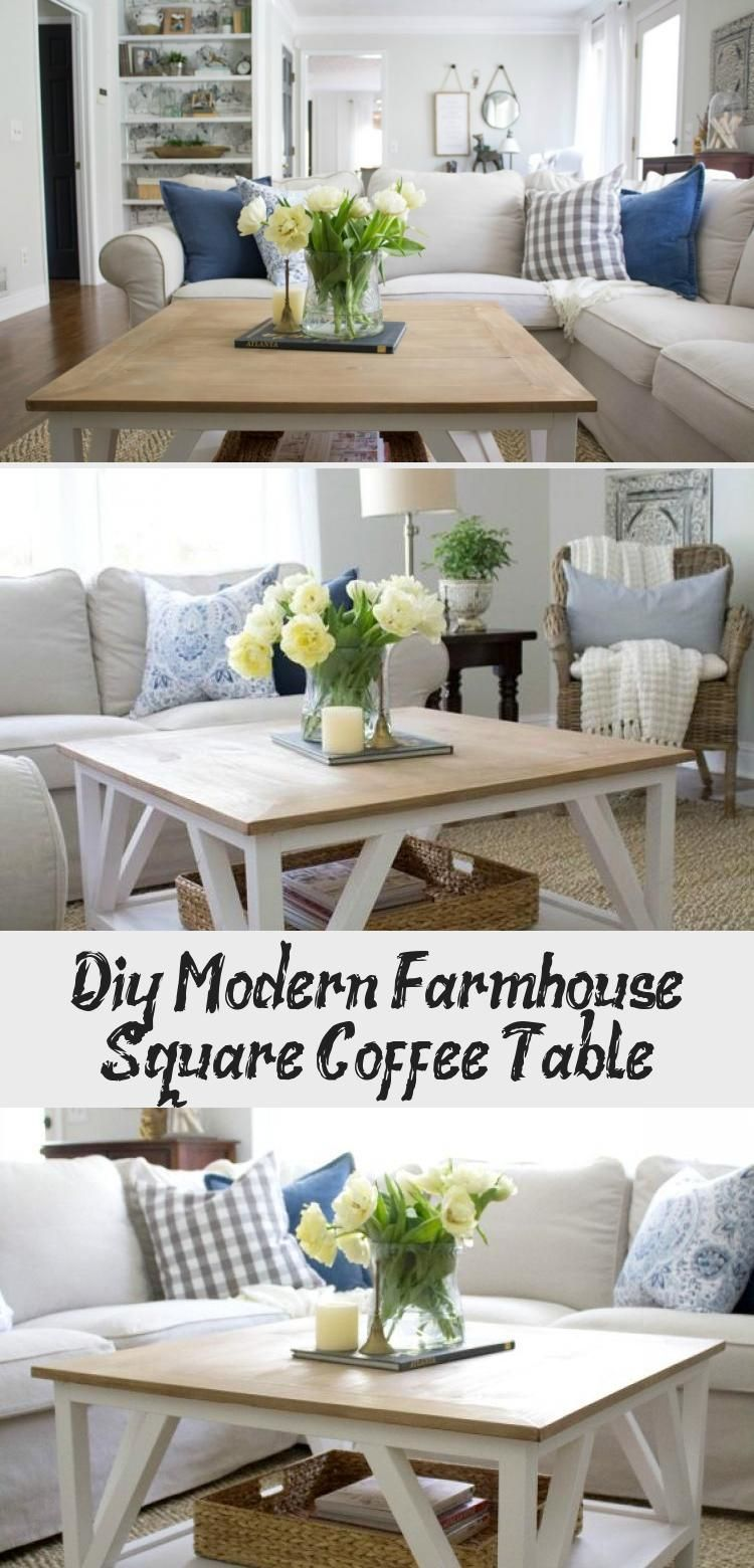Diy Modern Farmhouse Square Coffee Table Decor Dizayn [ 1560 x 750 Pixel ]
