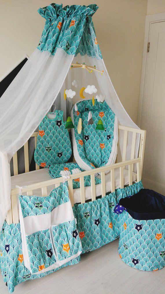 Crib Bedding Set Baby Canopy Diaper Organizer Skirt Nursery Decor S