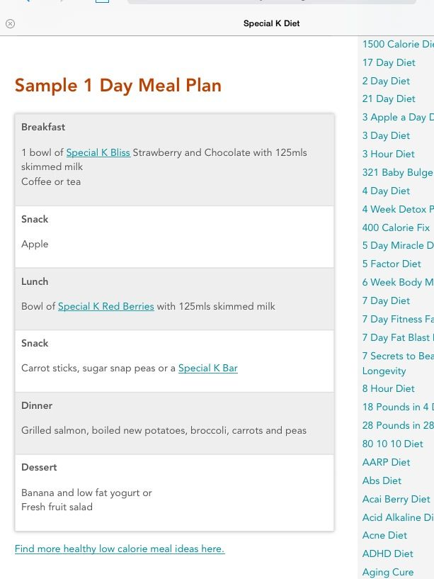 Special K Diet Sample Menu  Motivation    Sample Menu