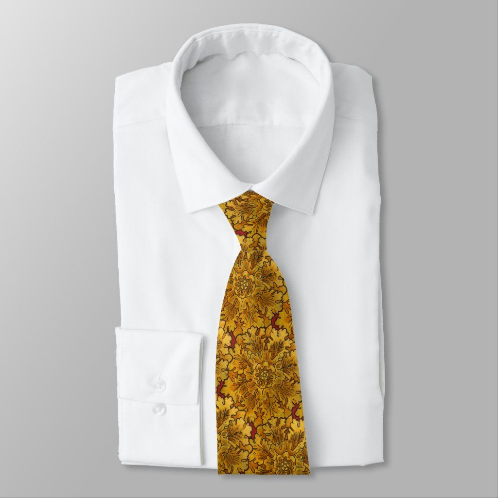 Mabon Equinox Oak Leaves Neck Tie, Adult Unisex, Dark Golden Rod / Peru / Antique White