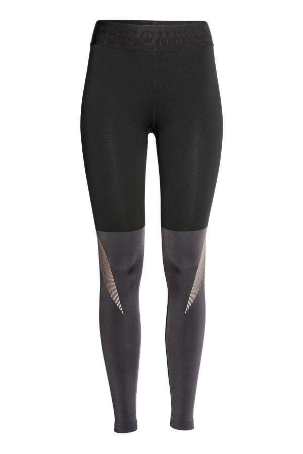 H M H M Color Block Sports Tights Black Dark Gray Women Sport Tights Black Tights Black Jeans