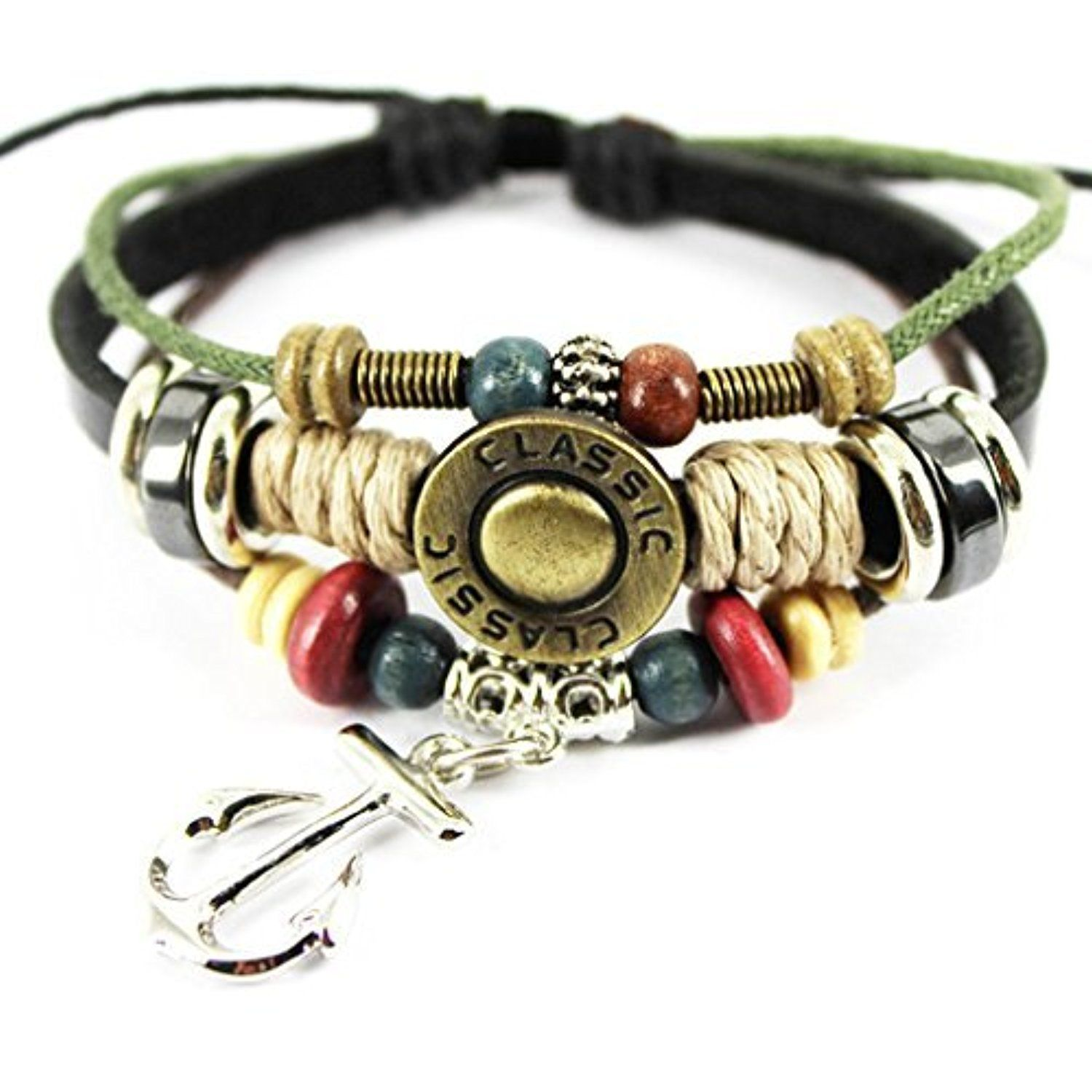 Elimoons personalized leather woven braided adjustable wrap bracelet