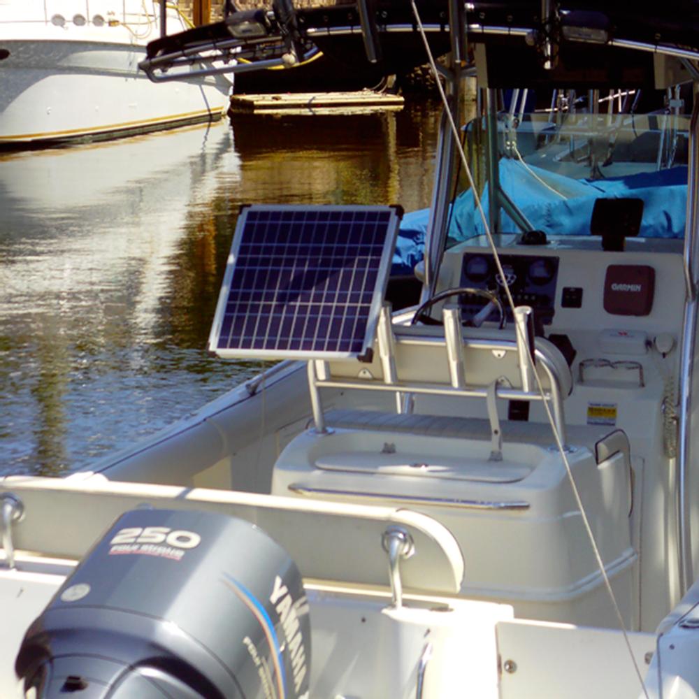 Solar Fishing Pole 30w 12vdc Battery Charger E Marine Systems Solar Battery Boat Battery Solar Panel Mounts
