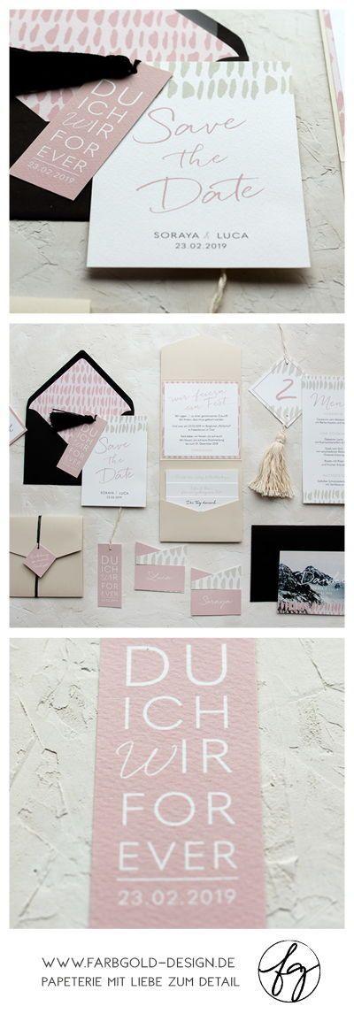 Moderne Typografie, sanfte Farben, schwarze Details und