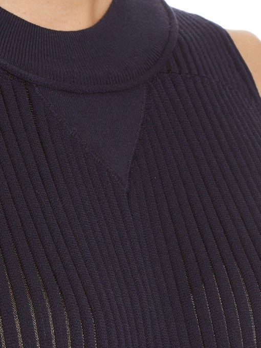 Sonia Rykiel Bi-colour pleated ribbed-knit top - Navy and sheer yarn
