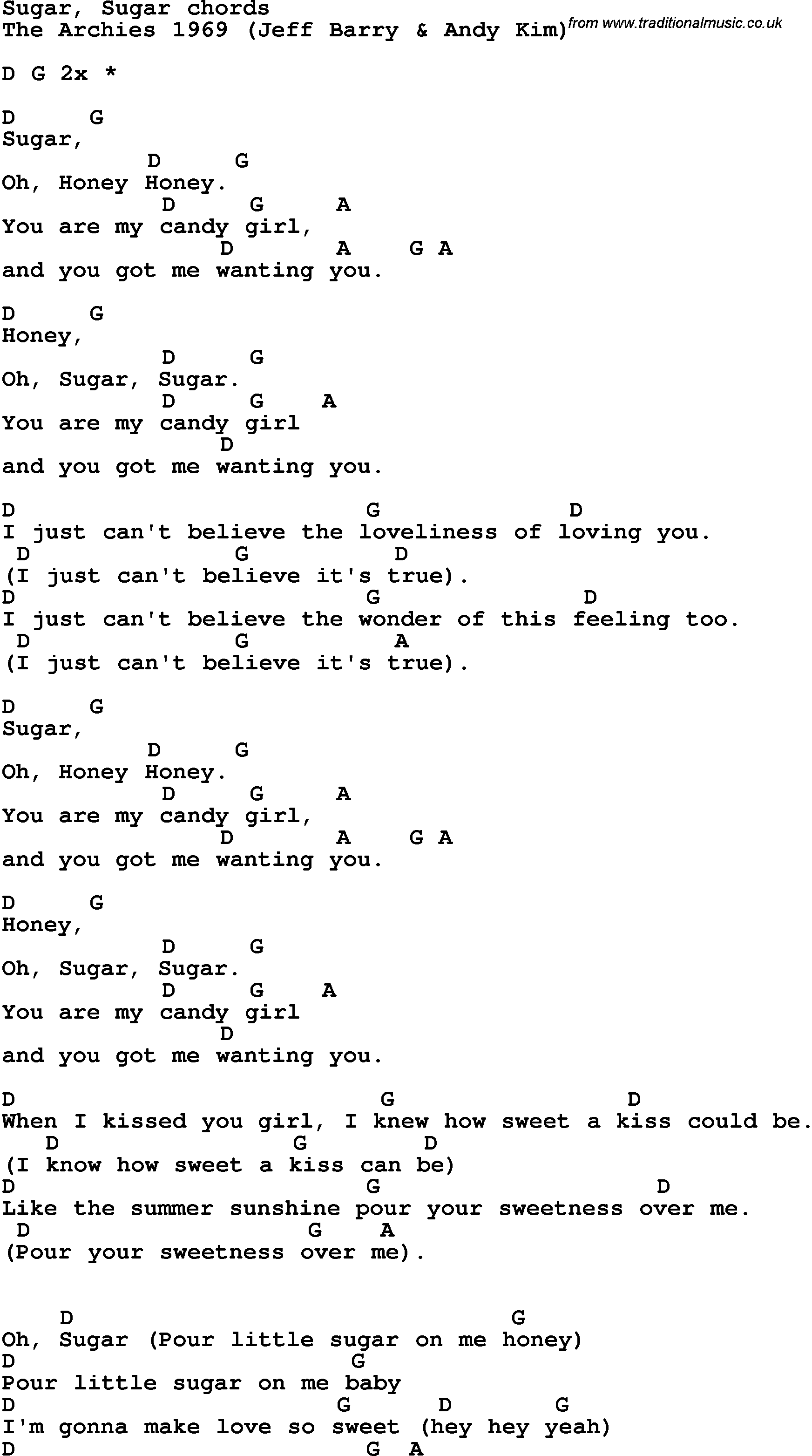 Song Lyrics With Guitar Chords For Sugar Sugar Guitar Class