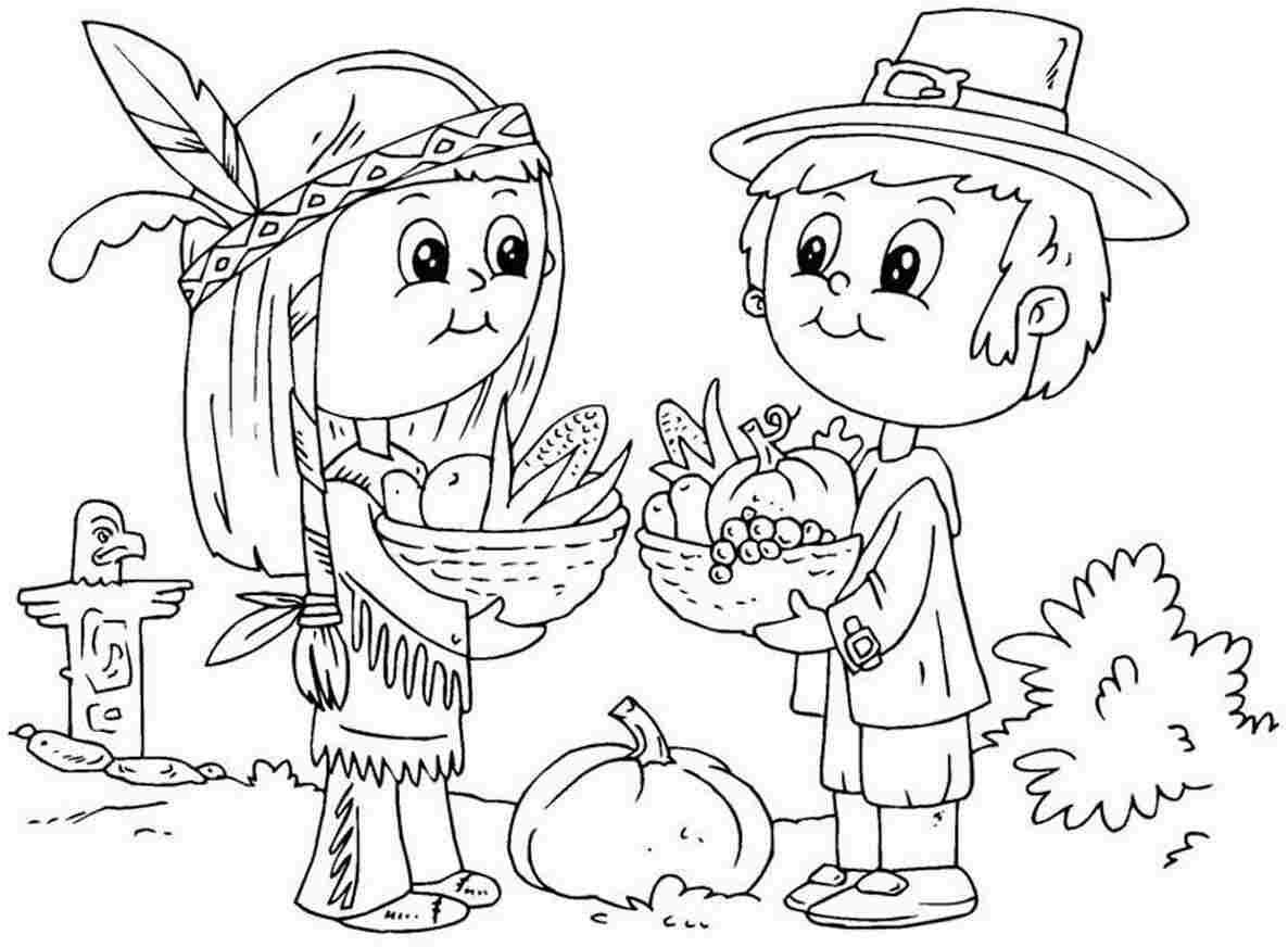 Thanksgiving Coloring Page Children S Pilgrim And Native American
