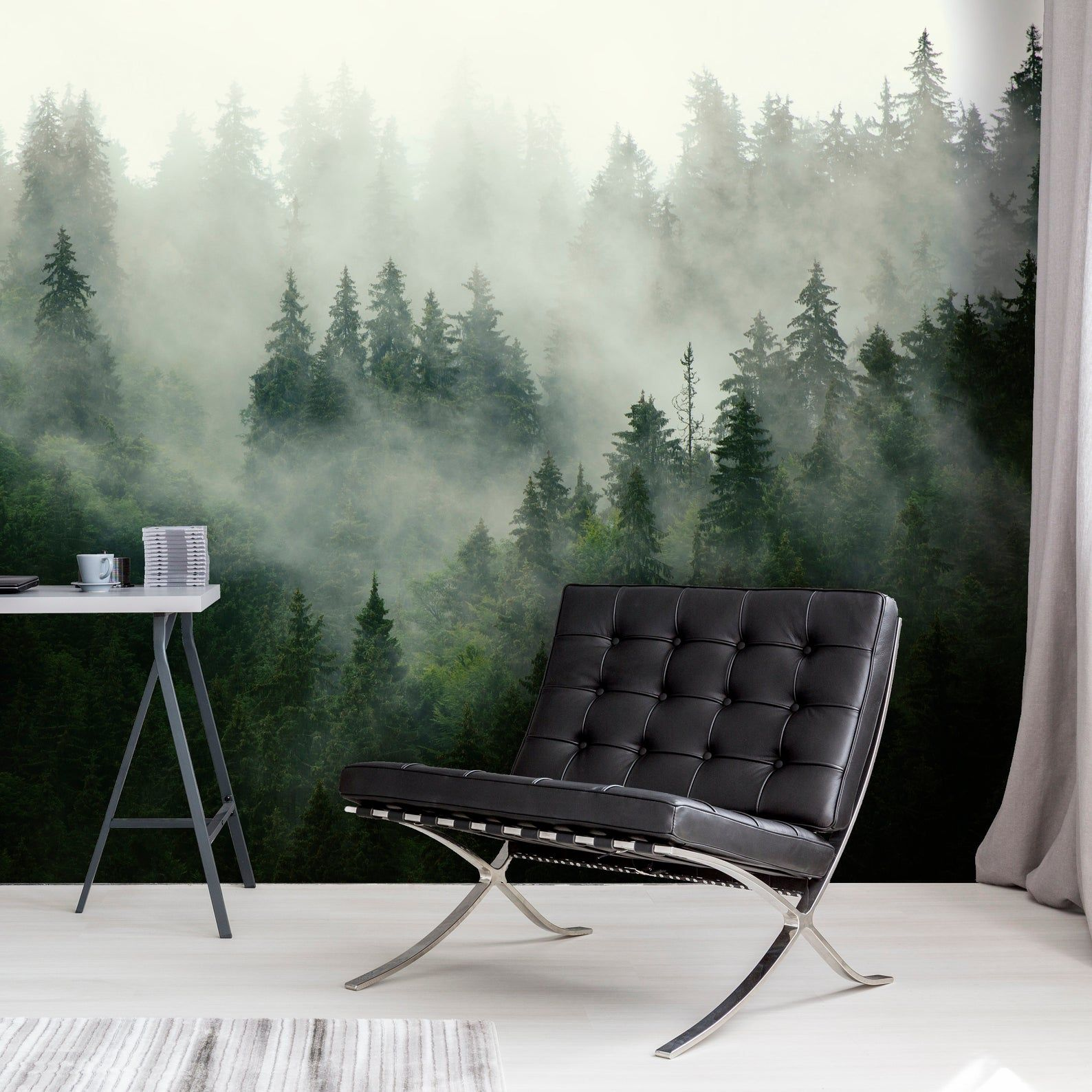 Foggy Forest Wallpaper Peel And Stick Removable Landscape Mural Mountains Wall Decoration Wood Nature Forest Mural Fresh Green In 2021 Forest Wallpaper Forest Mural Forest Wall Mural