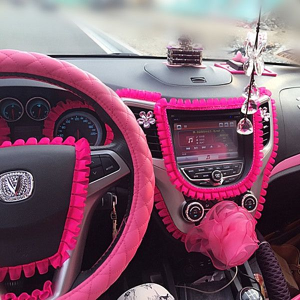 Car DIY Ruffle Lace Fringe for Interior Decorations Hot Pink