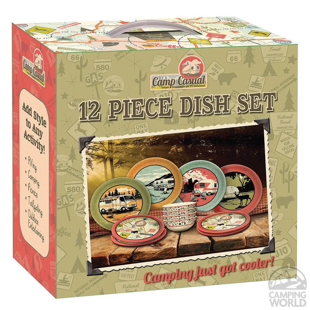 Camp casual 12piece dish set camping accessories best