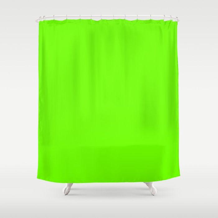 Bright Fluorescent Green Neon Shower Curtain Showercurtain Homedecor Bathroom