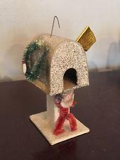 Vtg Christmas Cardboard Mailbox Mica Glitter White Chenille Santa Ornament Japan