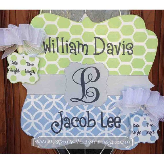 Personalized Twin Baby Sign For Hospital Door By Sparkledwhimsy 45 00