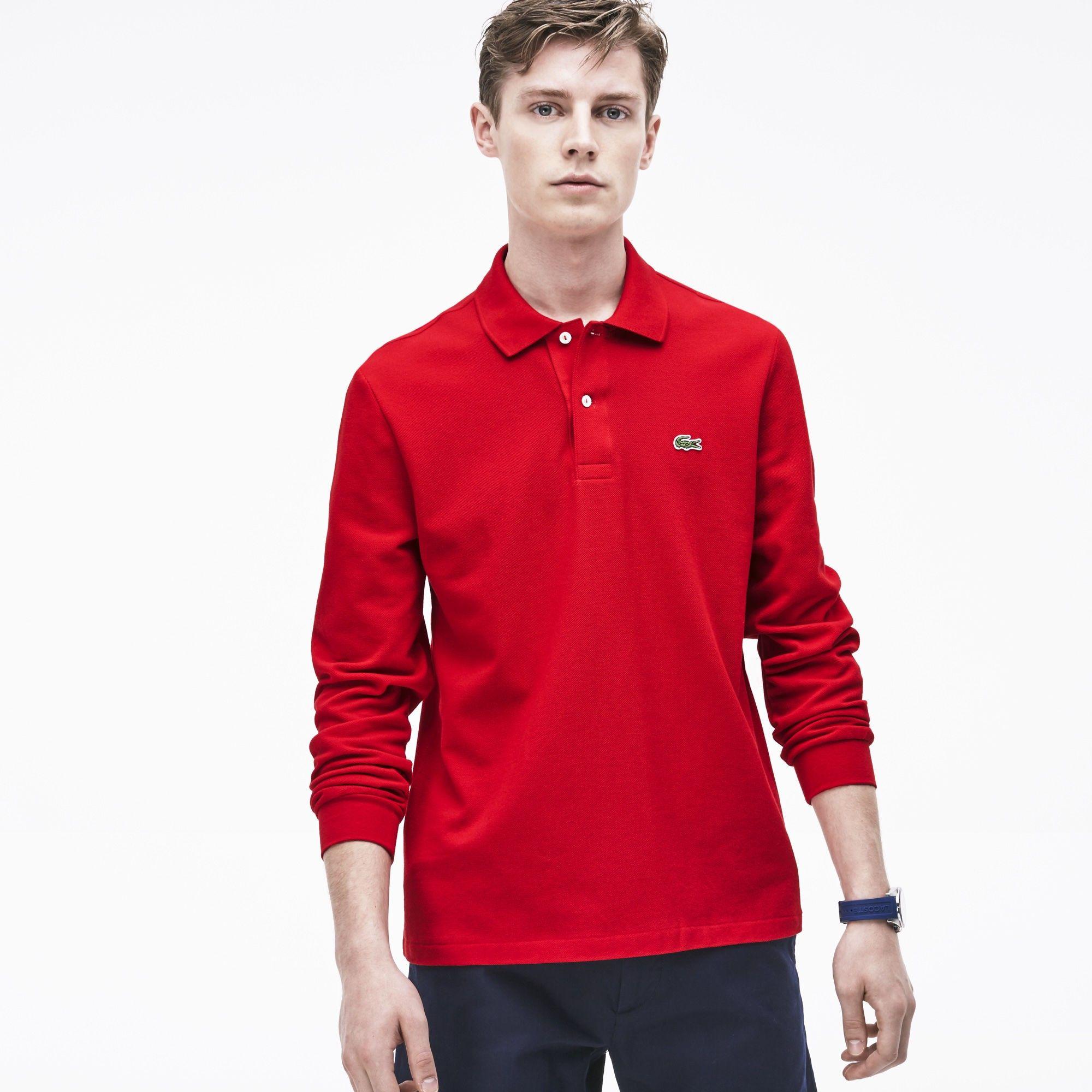 f6fb5037 Lacoste Men's Long Sleeve Original Cotton Piqué Polo - Red Varsity Blue Xxs
