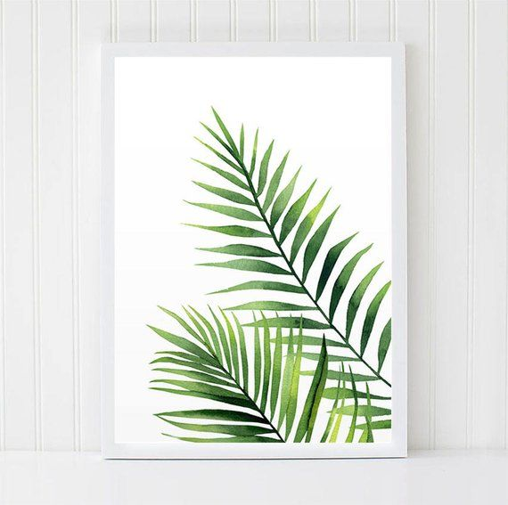 Watercolour Leaves Palm Branch Watercolour Tropical Plant