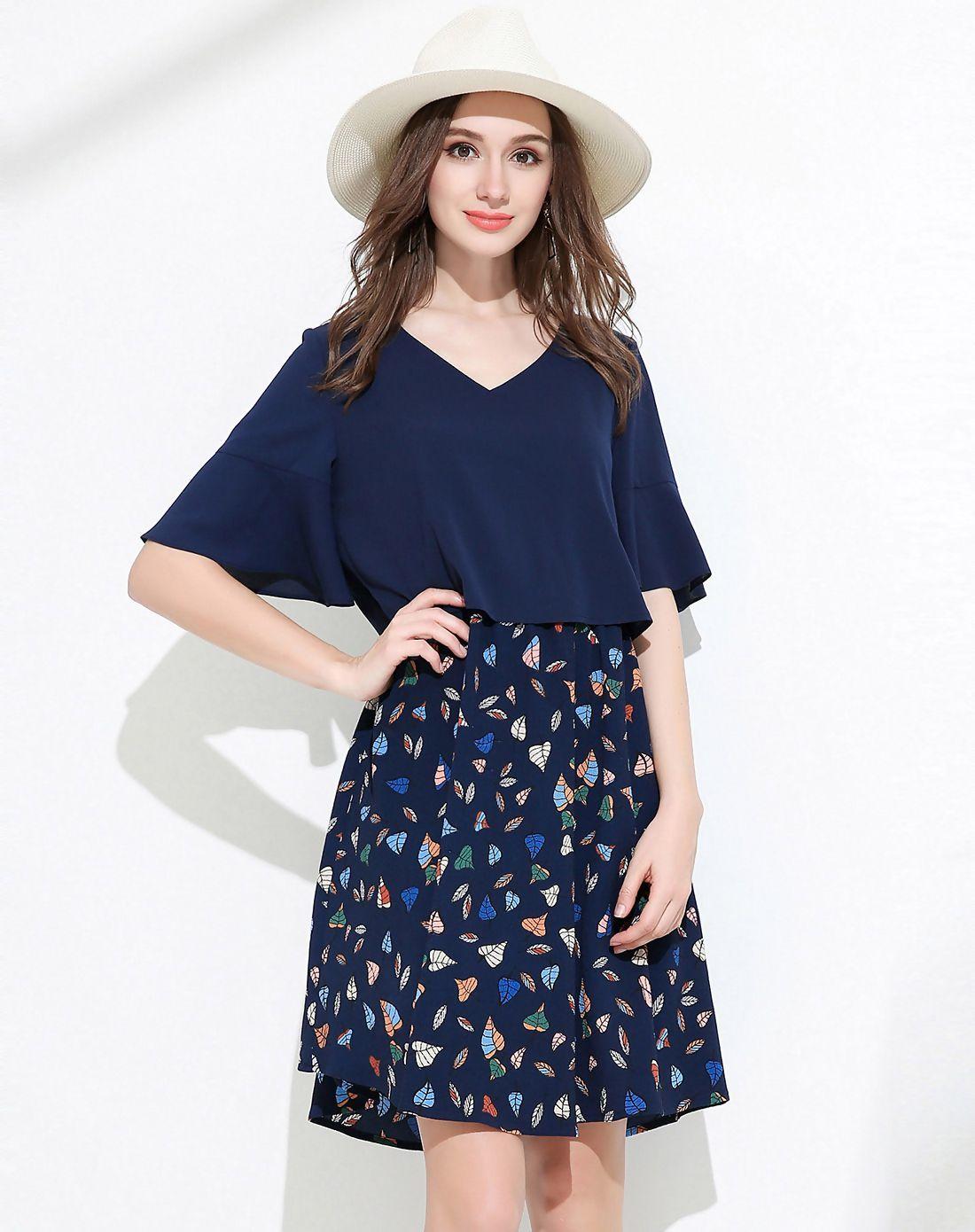Meidongtai royal blue floral v neck bell knee length aline dress