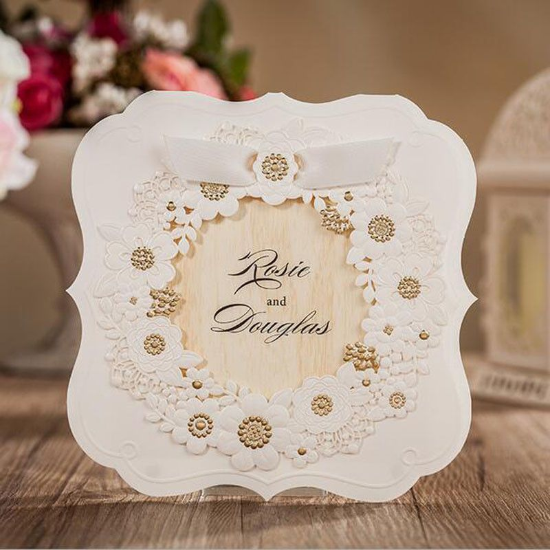 Wholesale 50pcs hollow laser cut wedding invitations card cheap postcard custom buy quality card postcard directly from china greeting cards suppliers square laser cut wedding invitation card greeting card m4hsunfo
