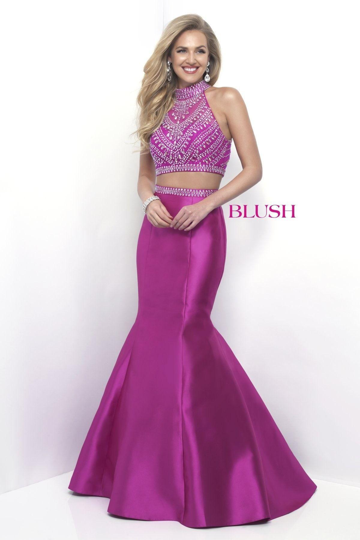 Blush Prom 11268 Magenta Halter Mikado Mermaid Prom Dress | Products ...