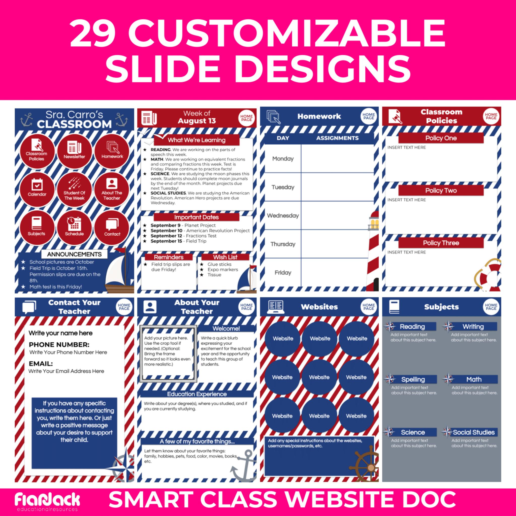 Nautical Smart Class Website Doc Slides Style