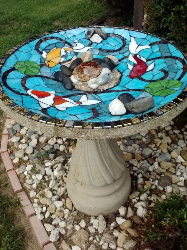 mosaic redo on damaged birdbath, concrete masonry, outdoor living, pets animals