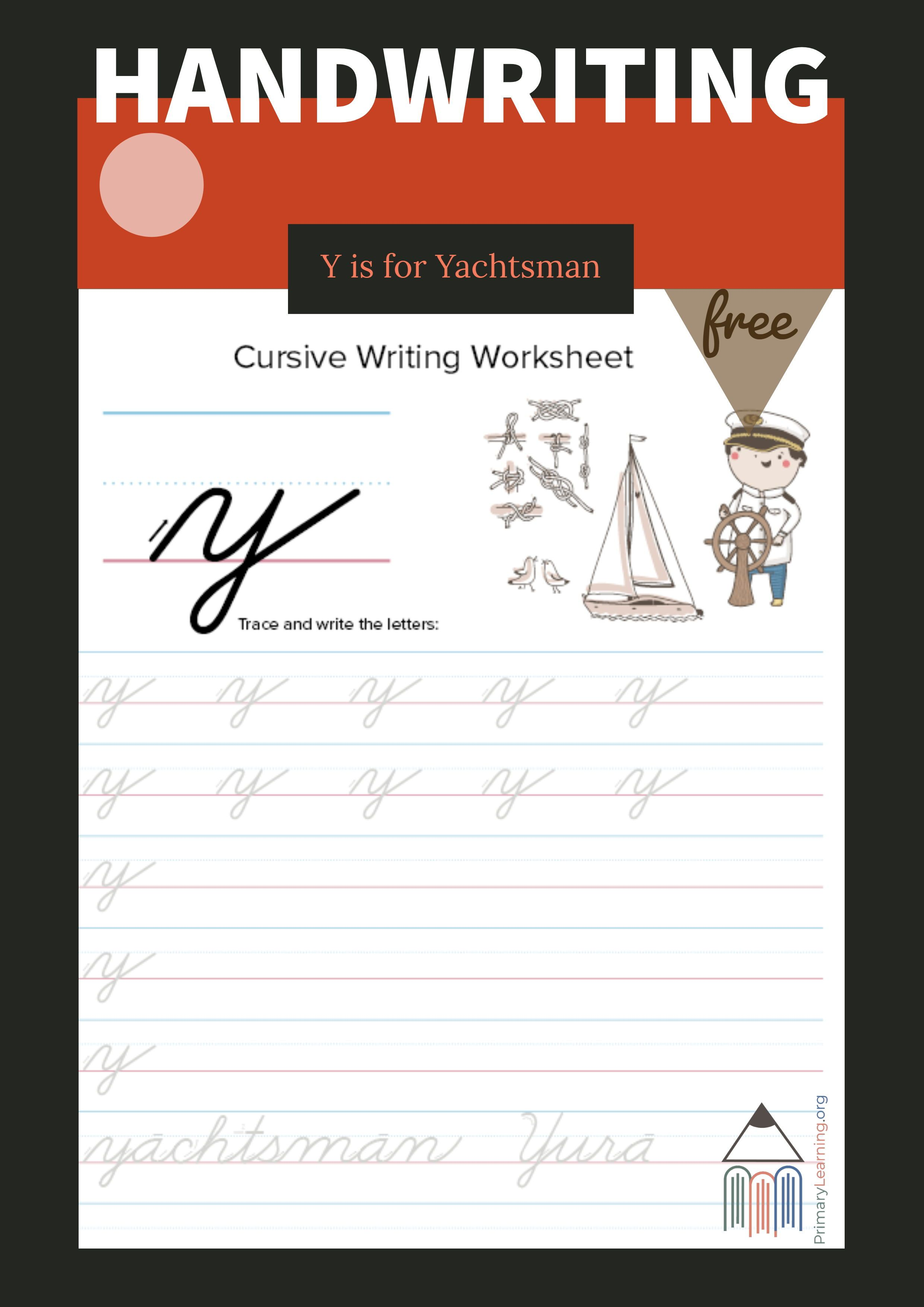 Lowercase Cursive Y Worksheet