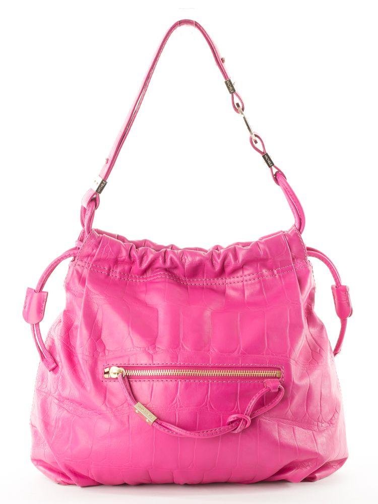Michele Diamond Large Leather Shoulder Bag Dark Pink Handbag