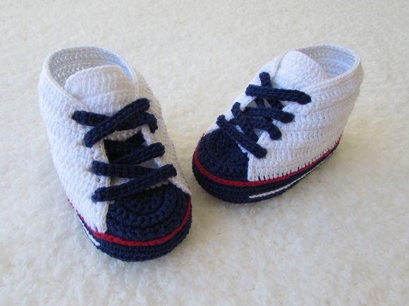 Tênis All Star de Bebê Navi | sapatinhos de croche baby sapeca ...