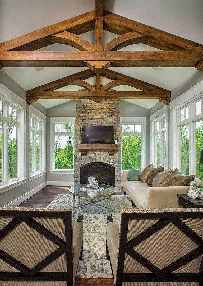 53 Stunning Vintage Mid Century Living Room Decor Ideas Sunroom Decorating Sunroom Designs Family Room Addition