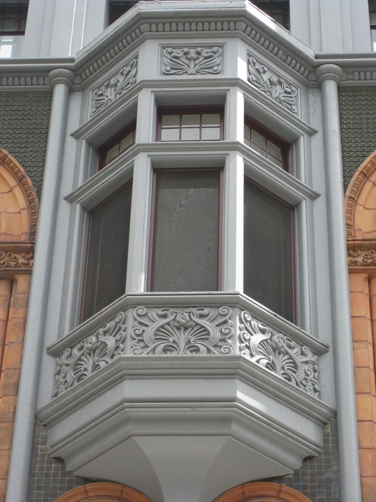 Bay Window of the Friendly Societies House - Elizabeth Street, Melbourne  This beautiful bay window with Art Nouveau decoration is the Friendly Societies House at 55 Elizabeth Street, Melbourne.   Built in 1901