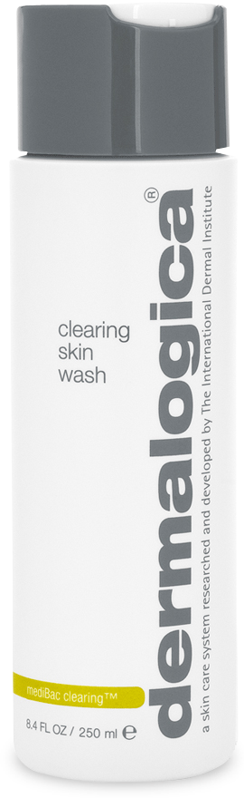 Dermalogica Clearing Skin Wash: This foaming cleanser helps clear oils and breakout-causing bacteria on breakout-prone skin. Salicylic Acid combines with antiseptic extracts to help stimulate natural exfoliation, clear clogged follicles, cool inflammation and prevent future breakout activity. Formulated without artificial fragrances and colors.