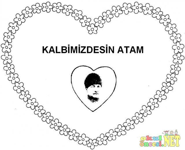 10 Kasım Için Kalpli Atatürk Boyama Sayfası Okul öncesi Net Okul