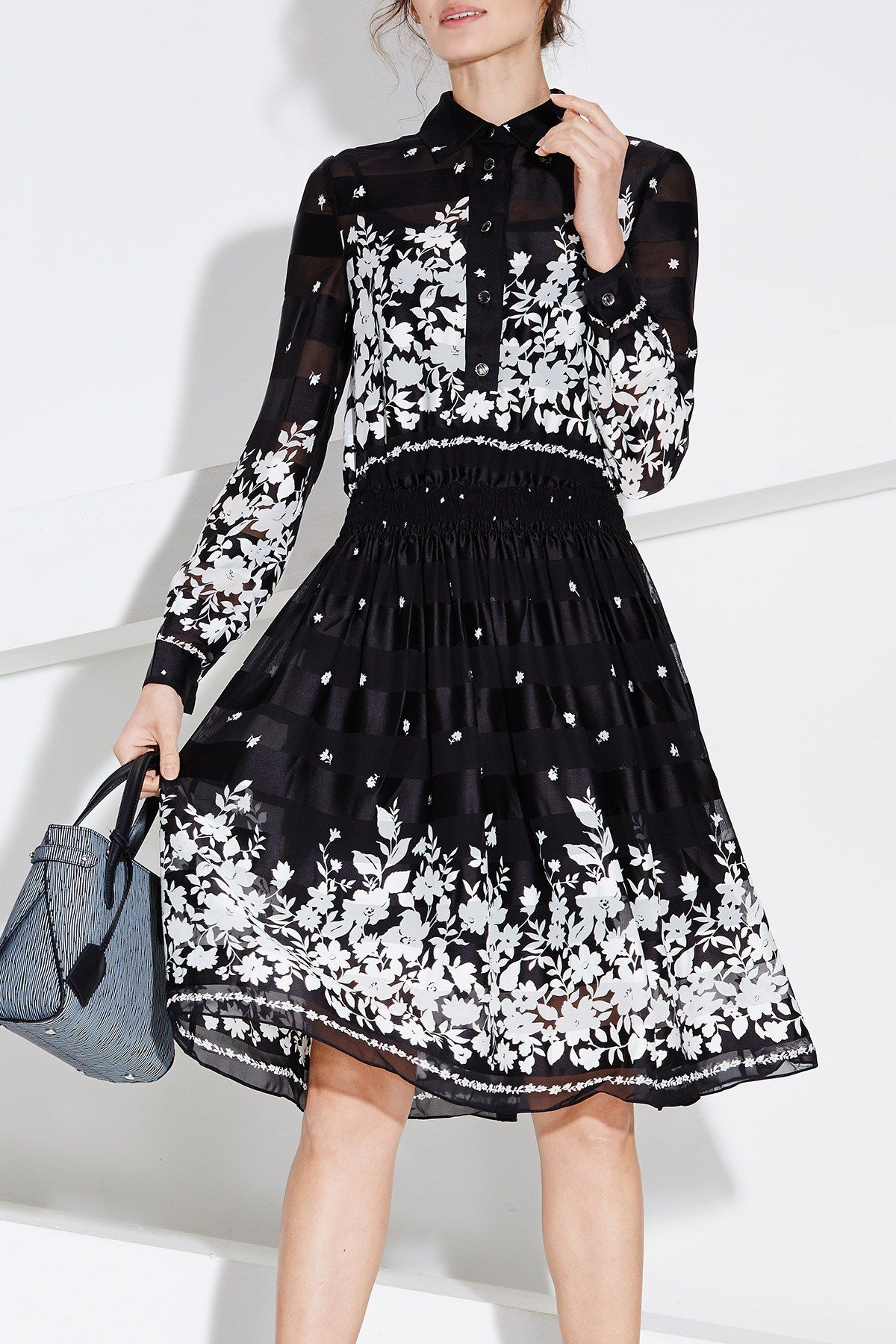 Long sleeve flower print a line dress flower prints a line