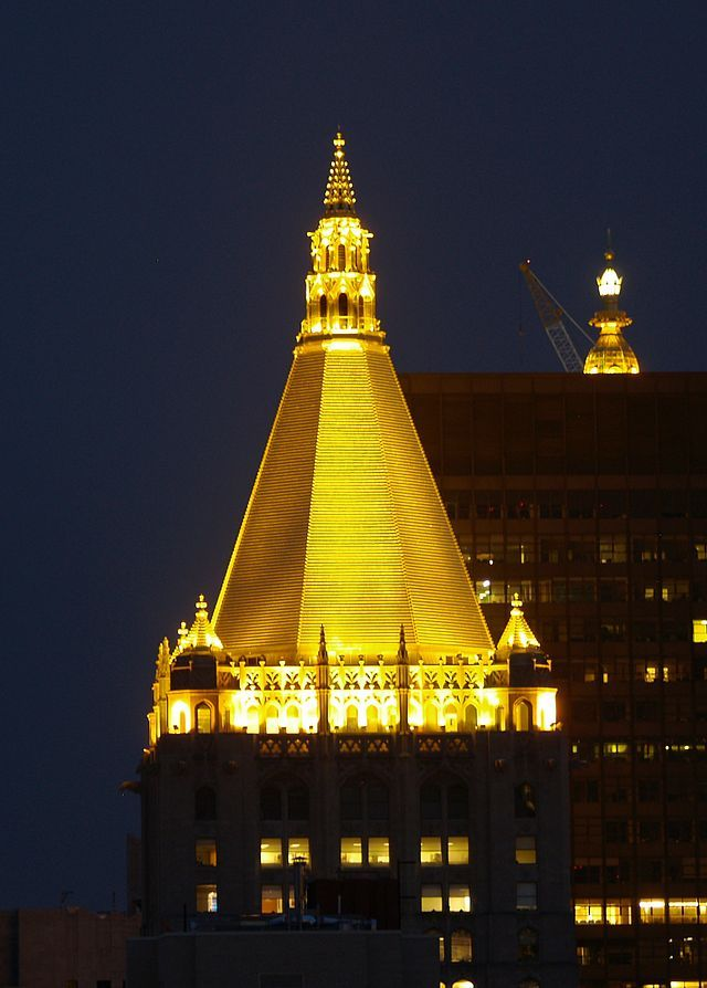 New York Life Building Rises Forty Stories To Its Pyramidal Gold Gilded Roof  Which Consists Of