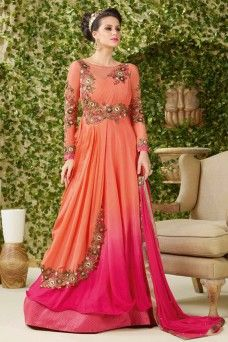 c131389cc2 Floor Length Pink and Peach Color Shaded Long Gown Style Partywear Heavy  Embroidered and Stoneworked Georgette Suit